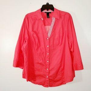 Lane Bryant orange polka dot blouse